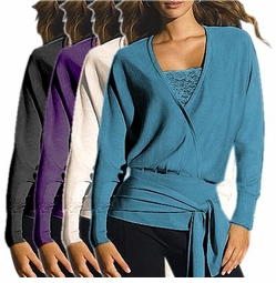 SOLD OUT!!!!!!!!!!! Purple Dolman Sleeve Control Wrap Sweater Plus Size