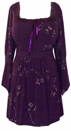 SOLD OUT! Purple & Lavender Floral Lace Trim Slinky Plus Size Shirts 4x