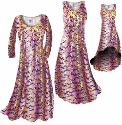 CLEARANCE! Purple With Gold Metallic Slinky Print Plus Size & Supersize Dresses  0x