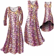 CLEARANCE! Purple With Gold Metallic Slinky Print Plus Size & Supersize Dresses  1x
