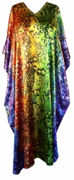 SOLD OUT! Rainbow-Colored Beaded Neckline Poly/Satin Plus Size & Supersize Caftan Dress 1x to 6x
