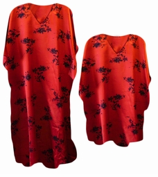 SOLD OUT!!!!!!!! Red & Black Print Poly/Satin Plus Size & Supersize Caftan Dress or Shirt 1x to 6x