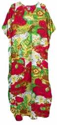 Sold Out!!! Red Green Gold & White Poly/Satin Plus Size & Supersize Caftan Dress 1x to 6x