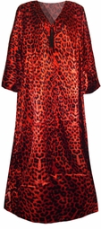 SOLD OUT! Red Leopard Print Poly/Satin Plus Size & Supersize Caftan Dress 1x to 6x