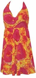 SOLD OUT! Red & Orange Or Blue TieDye Squares 2 Piece Halter SwimDress Swimsuit 6x