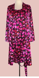 SOLD OUT! Red Pink & Black Hearts 2pc Plus Size Supersize Nighty & Robe Set 5x