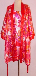 SOLD OUT! Red, Pink & Orange Geometric Plus Size Nighty & Robe Set 1x