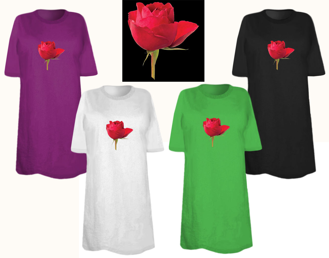 Sale Red Rose Beauty Plus Size Supersize T Shirts S M L