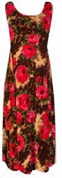 SOLD OUT!!!!Red Roses Leopard Slinky Plus Size & Supersize Princess Cut Dress