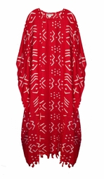 SOLD OUT!!!!!Red & White Geometric Rayon Plus Size & Supersize Caftan Dress 1x to 6x