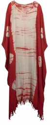 SOLD OUT!!! Red & White Tiedye Rayon Plus Size & Supersize Caftan Dress