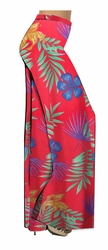 SOLD OUT! SALE! Red With Blue Tropical Flowers Slinky Print Plus Size & Supersize Palazzo Pants - Tapered Pants  - Sizes Lg to 9x