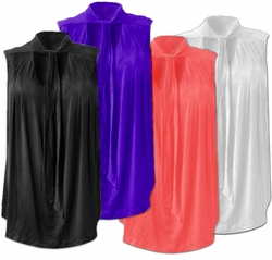 SOLD OUT!!Reduced! SALE! Jaclyn Smith Sexy Black, Royal Blue, Winter White or Salmon Plus Size Drape Top With Tie Around Neck  1x 2x 3x