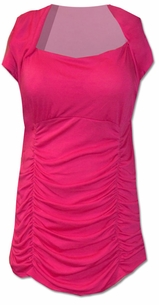 SOLD OUT!!!!!Reduced! SALE! Pretty Pink Body Sculpting Plus Size Tunic Top With Ruched Sides 2x 3x