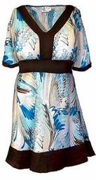 SOLD OUT!!!!!!!!!!!!!Reduced! SALE! Summery Teal & Brown Print Plus Size & Supersize Babydoll Style Plus Size Top