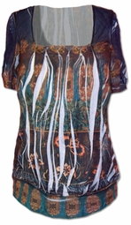SOLD OUT!!!! Romantic Sublimation Plus Size Blue and Brown Graphic Print Shirt