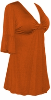 SOLD OUT!!!! Rust Cotton Lycra Sexy Low-Cut Flutter Sleeve Top  5x 6x