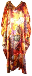 SOLD OUT! SALE! Rustic Autumn Beaded Neckline Poly/Satin Plus Size & Supersize Caftan Dress 1x to 6x