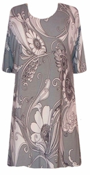 SOLD OUT! s6054 Gray & White Mod Floral Print Plus Size & Supersize T-Shirts 6x