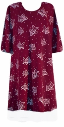 SOLD OUT! s621 Burgundy Fish Print Plus Size & Supersize T-Shirts 2x