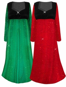 SOLD OUT!! SALE! Beautiful Red and Black or Green & Black  Glittery Empire Waist Plus Size Dress With Rhinestone Detail 3x 4x