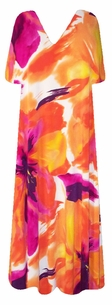 SOLD OUT! SALE! Beautiful Tangerine Painted Floral Slinky Plus Size Dresses 0x 1x