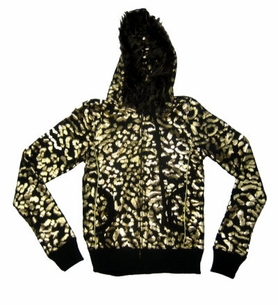 SOLD OUT!!SALE! Black Hoodie With Gold Print and Faux Fur Trim