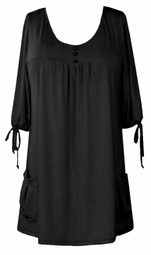 SOLD OUT!!!!Sale! Black Slinky Pocket Babydoll Tops 4x