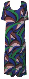 SOLD OUT!!!!!!!!!!!!SALE! Blue Green White & Brown Swirly Plus Size Slinky Dress 2x 3x