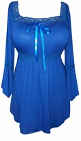 SOLD OUT!!!!SALE! Blue Sapphire Lace Trim Bell Sleeve Yummy Soft Plus Size Shirts  4x 5x
