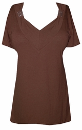 SOLD OUT!!!!SALE! Brown Soft V-Neckline with Crystal Details Plus Size Top
