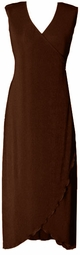 SOLD OUT!!!Sale! Chocolate Brown Slinky  Sleeveless Cascading Wrap Dress 5x