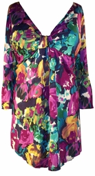 SOLD OUT!! SALE! Color Medley Cotton Lycra Sexy Low-Cut Flutter Sleeve Top