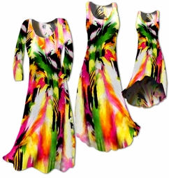 SOLD OUT!!!!!!!!!!! SALE!!!  Colorful Pink & Green Abstract Slinky Plus Size & Supersize Standard or Cascading A-Line or Princess Cut Dresses 5x