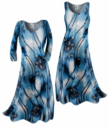 SOLD OUT! SALE! Blue White & Silver Abstract Print Slinky Plus Size & Supersize Standard or Cascading Shirts & Dresses 4x 5x