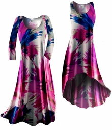 SOLD OUT!!!!!!!!! SALE! Customizable! New! Blue Pink White Floral Splash Slinky Plus Size & Supersize Standard or Cascading A-Line or Princess Cut Dresses & Shirts, Jackets, Pants, Palazzo's or Skirts Lg to 9x