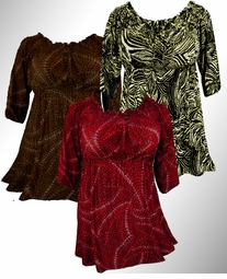 SOLD out!!!!!!!!!!!!!!SALE! Cute Empire Waist Black, Red or Brown Print Plus Size Slinky Babydoll Tops 1x 2x 3x