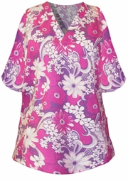 SOLD OUT!!!!SALE!  Cute Pink and Purple Floral Print Plus Size Scrub Top 3xl