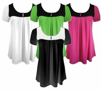 SOLD OUT!!!!!SALE! Cute Plus-Size Two-Tone Babydoll Tops
