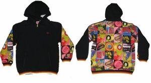 SOLD OUT!!!SALE! Fun Black Hoodie With Colorful Vintage Graphic Design