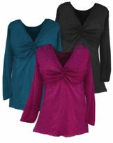 SOLD OUT!!!!SALE!  Gathered V-Neck Black Teal or Magenta Long Sleeve Top 22 24 26 28