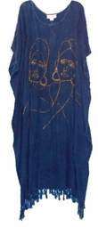 SOLD OUT! Sale! Gold & Denim Fringe African Essence Caftan Plus Size & Supersize Caftan Dress 1x to 4x