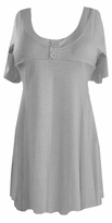 SOLD OUT! SALE! Gray Cotton Lycra Mock Button Top Short Sleeve Top
