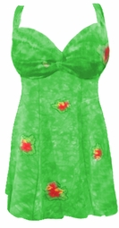 SOLD OUT!!!!!!!!!!!!!!!!!!!!!!SALE! Green TieDye Floral Halter & Princess Cut SwimDress Swimsuit  1x
