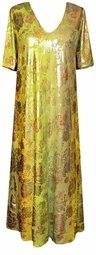 SOLD OUT!! SALE! Green & Yellow Shiny Lame' Plus Size Slinky Dress, Shirt, or Jacket - Customizable! Lg to 9x
