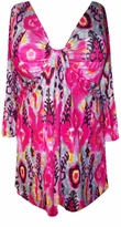 SOLD OUT!!!!!!!!!!!!!SALE! Hot Pink Feather Prints Cotton Lycra Sexy Low-Cut Flutter Sleeve Top 1x 2x  3x 4x
