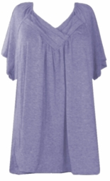 SOLD OUT!!!!SALE! Lavender Cute Cotton Lycra Short Sleeve V-Neck Plus Size Tops 4x