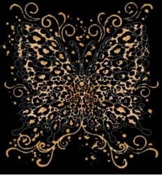 SOLD OUT!! Sale!  Leopard Butterfly  Black Plus Size T-Shirt