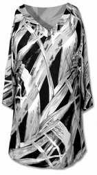 SOLD OUT!!!!!!!!!! SALE!!! Lovely Gray Slinky Graphic Print Plus Size Belted Tunic Top  4x