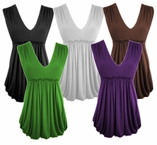 SOLD OUT! SALE! Lovely Plus-Sized Black White Brown or Apple Ruffle Trim Babydoll Top 4x